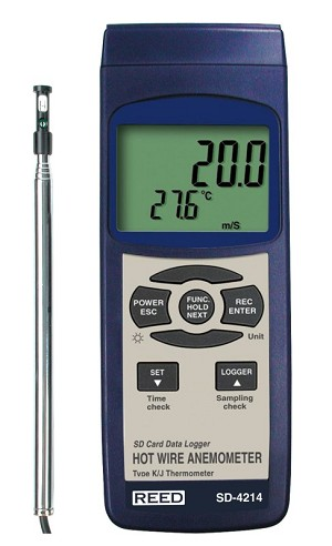 Reed Instruments SD-4214 SD 4214 Thermo Anemometer Data Logger